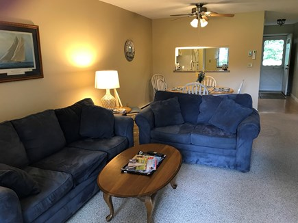 Ocean Edge, Brewster Cape Cod vacation rental - Living room with view of the front entrance.
