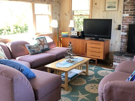 East Sandwich Cape Cod vacation rental - living room with raised hearth gas fireplace, ocean views