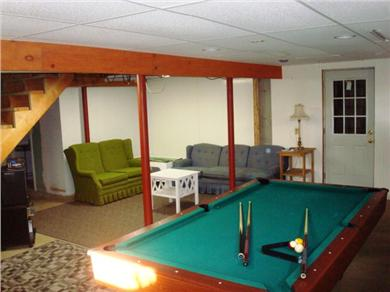 Falmouth Cape Cod vacation rental - Pool table in the partially finished basement. Also a bathroom.