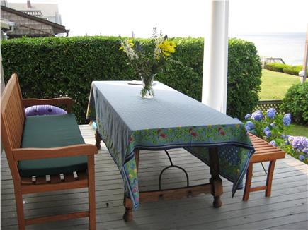 Plymouth Priscilla Beach 6 mil MA vacation rental - Dining on the porch and watch the ocean