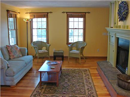 East Harwich Cape Cod vacation rental - An elegant and comfortable Living room with fireplace and TV