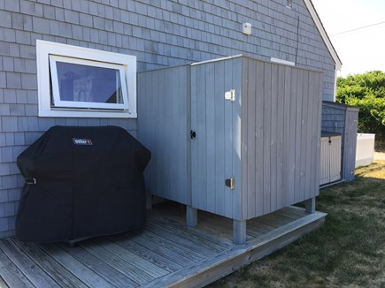 Wellfleet Harbor Cape Cod vacation rental - Gas grill and outdoor shower with changing area