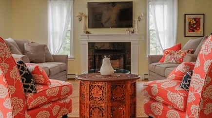 West Harwich Cape Cod vacation rental - Bright living room with lots of windows & plenty of seating!
