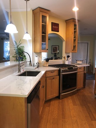 West Harwich Cape Cod vacation rental - Kitchen with 5 burner stove/convection oven, spacious prep areas.