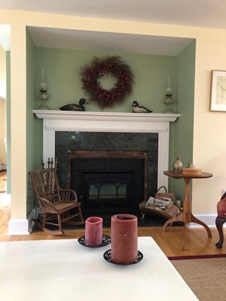 Chatham Cape Cod vacation rental - Living room fireplace