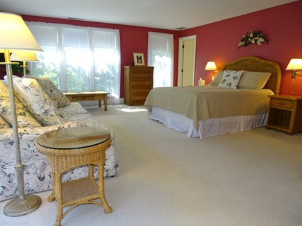 near Skaket beach in Orleans Cape Cod vacation rental - Large master suite upstairs with flat screen TV