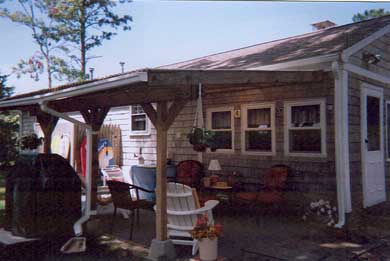 South Yarmouth/Bass River Cape Cod vacation rental - Roofed patio, gas grill, outdoor shower & yard fenced 3 sides