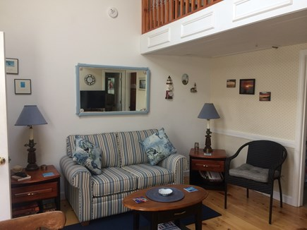 Dennisport Cape Cod vacation rental - Bright and cheery living room with vaulted ceiling.