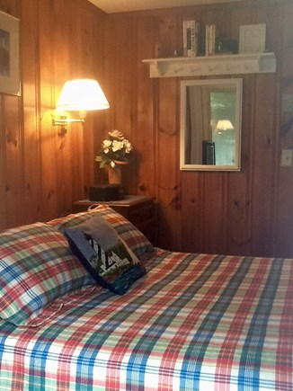 Dennisport Cape Cod vacation rental - Master bedroom w/queen bed and slider to enclosed rear deck