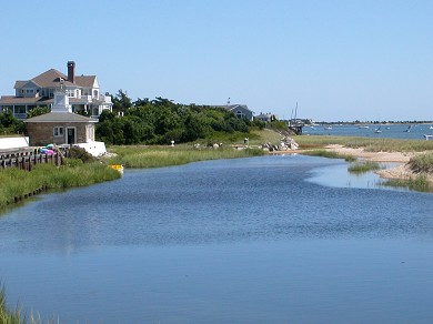 Lewis Bay, West Yarmouth Cape Cod vacation rental - Looking down the Jetty from the terrace