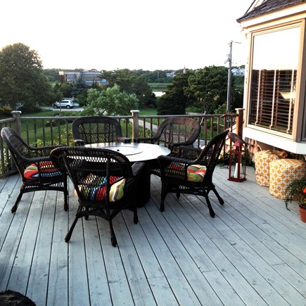 West Chatham Cape Cod vacation rental - Deck area with fire table