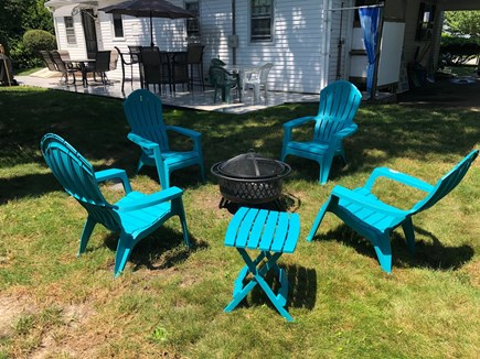 West Hyannisport Cape Cod vacation rental - Chill at the fire pit.  Great outdoor shower in the background.