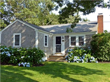 Harwich Port Cape Cod vacation rental - Front entrance surrounded by beautiful hydrangeas