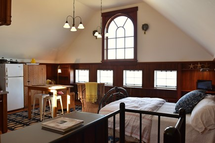 East Orleans on the cove Cape Cod vacation rental - Entering loft from staircase showing living area facing town cove