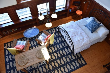 East Orleans on the cove Cape Cod vacation rental - Birds eye view showing sitting, dining area and queen size bed