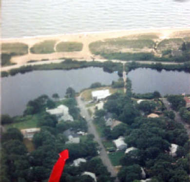 Mashpee, Popponesset Beach Cape Cod vacation rental - Birds eye view. Deans Pond w  footbridge to beach