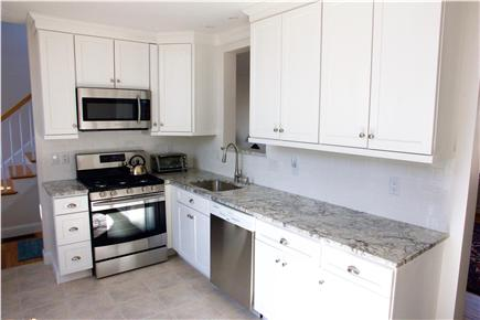 Harwich Cape Cod vacation rental - Bright, just-renovated kitchen; granite and stainless steel.
