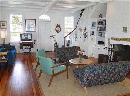 Provincetown Cape Cod vacation rental - Light and Airy Living Room with Woodburning Stove and Dining Area