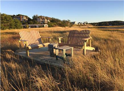 Wellfleet 4 acres on the inner Cape Cod vacation rental - Incredible seating area located between the house and the water