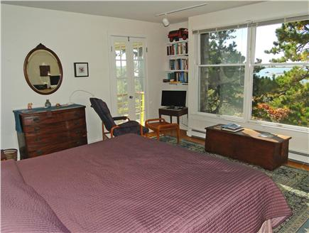 Wellfleet 4 acres on the inner Cape Cod vacation rental - King sized master bedroom upstairs with desk, TV, water views