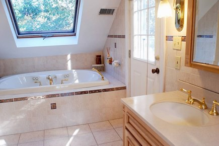 East Falmouth in the historic  Cape Cod vacation rental - Master bath w/ double sinks, stand up shower, jacuzzi & deck