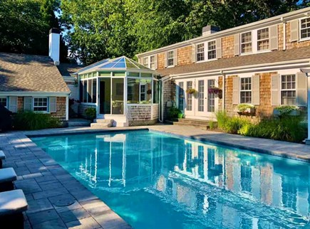 East Falmouth in the historic  Cape Cod vacation rental - New gunite pool with pavers on deck