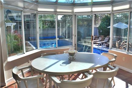 East Falmouth in the historic  Cape Cod vacation rental - Poolview from solarium