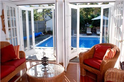 East Falmouth in the historic  Cape Cod vacation rental - Poolview from three season porch