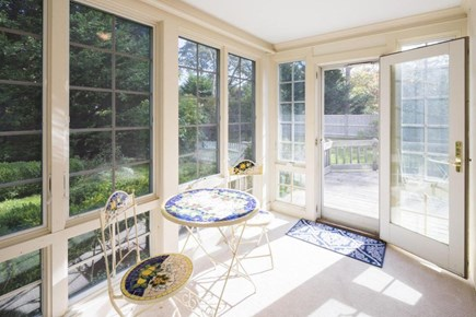 Chatham Cape Cod vacation rental - Sunroom leading to large deck overlooking beautiful private yard.