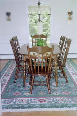 Chatham Cape Cod vacation rental - DR seats 8-10 people, wool rug, bay window & leads to sunroom.