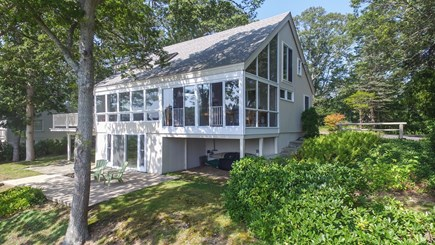 Hyannis Cape Cod vacation rental - WaterSide View showing Lower Patio and Lower Entrance