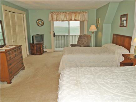 Yarmouth Cape Cod vacation rental - Bedroom with two double beds, deck facing ocean