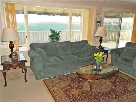 Yarmouth Cape Cod vacation rental - Spacious living room w/panoramic ocean views and sliders to deck