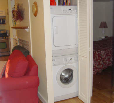 Brewster Cape Cod vacation rental - Living Room/stackable washer and dryer hidden away