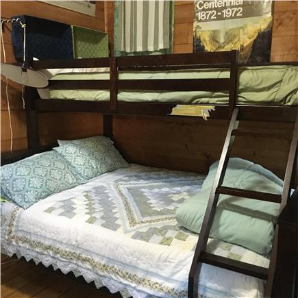 South Wellfleet Cape Cod vacation rental - Bedroom with queen sized bed underneath a twin bunk bed.