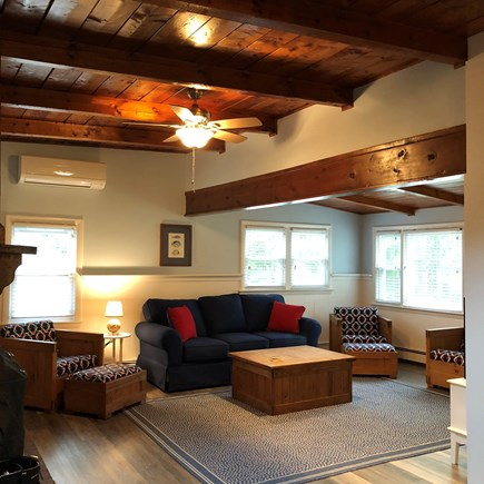 Wellfleet Cape Cod vacation rental - Main Sitting Room with restored Wooden  Vaulted Ceilings