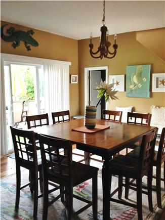 Falmouth Cape Cod vacation rental - Lg Dining Rm w LCD TV- large pub table and 8 chairs(48''by 48'')