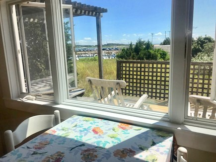 Wellfleet Cape Cod vacation rental - View from table towards water.  Table seats 4.