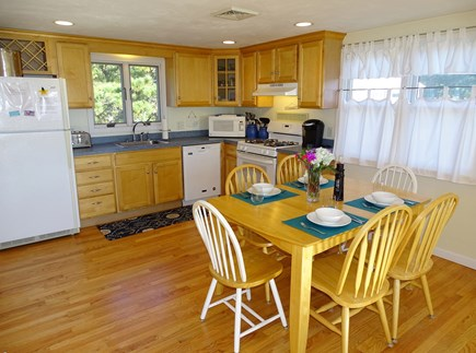South Yarmouth Cape Cod vacation rental - Full kitchen with AC. Table extends to seat 8.
