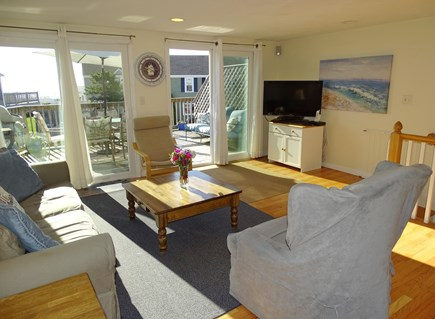 South Yarmouth Cape Cod vacation rental - Living room on second floor looks out to deck and ocean views