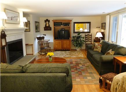 Mayflower Point, Orleans, MA Cape Cod vacation rental - Comfortable living room with TV, 2 couches, stereo