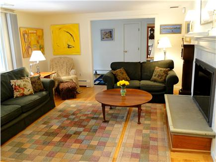Mayflower Point, Orleans, MA Cape Cod vacation rental - Bright living room with fireplace for charm
