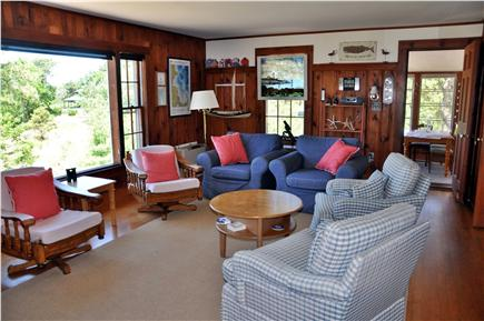 Wellfleet Cape Cod vacation rental - Watch the harbor from comfy living room with seating for a crowd