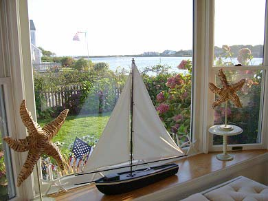 East Falmouth (Maravista) Cape Cod vacation rental - Bay window view to pond and ocean