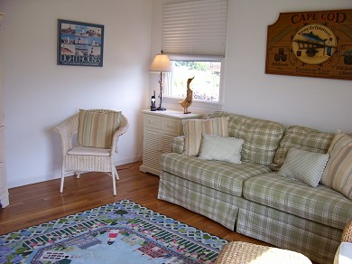 East Falmouth (Maravista) Cape Cod vacation rental - Family Room with view & 27In.tv