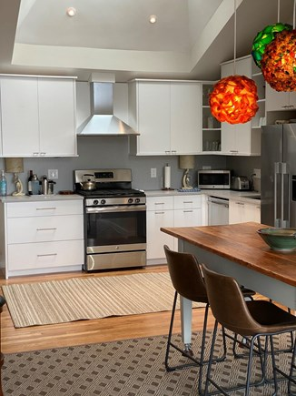 Provincetown Cape Cod vacation rental - Gorgeous kitchen, dining area and mid-century pendants