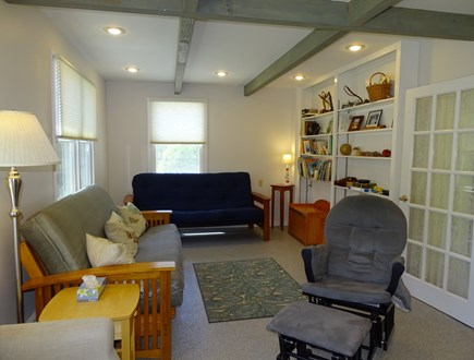 East Dennis Cape Cod vacation rental - Media room with TV expands to include double bed futons