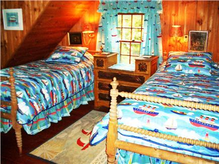 Woods Hole, Gansett Woods area Woods Hole vacation rental - The Twin Bedroom with its Boats & Buoys decoration has XL Beds