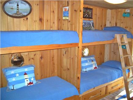 Woods Hole, Gansett Woods area Woods Hole vacation rental - The Lighthouse Room has 4 XL bunks and sliding door to the garden