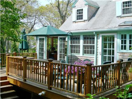Woods Hole, Gansett Woods area Woods Hole vacation rental - The Roomy Deck has Two Picnic Tables and Lounging Furniture